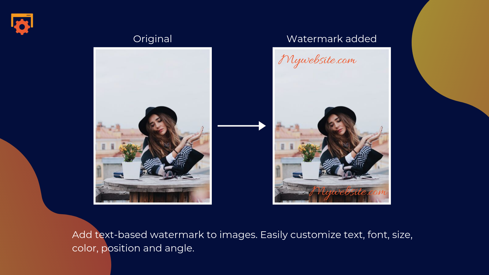 shopify smart image optimizer app by Secomapp - Add text-based watermark to images