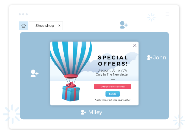 with promotion popup app, popups can be shown to specific customers