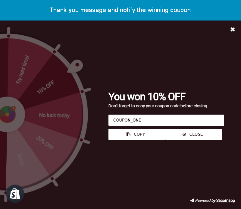 shopify spin to win app by secomapp_notify winning