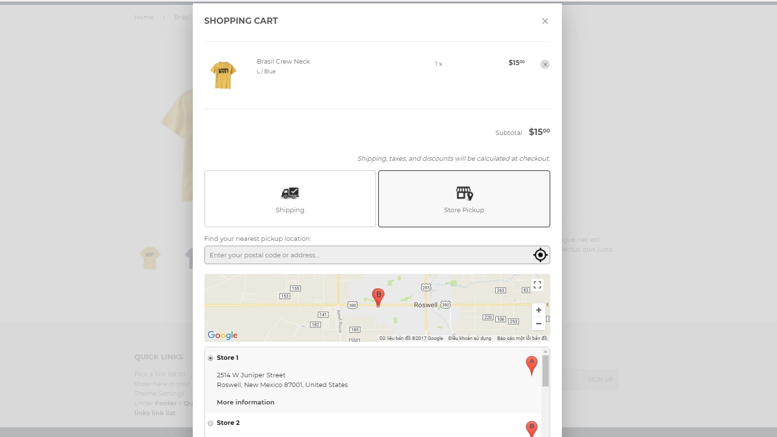 shopify store pickup app by Secomapp - Locate store