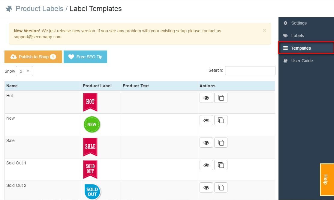 Label templates