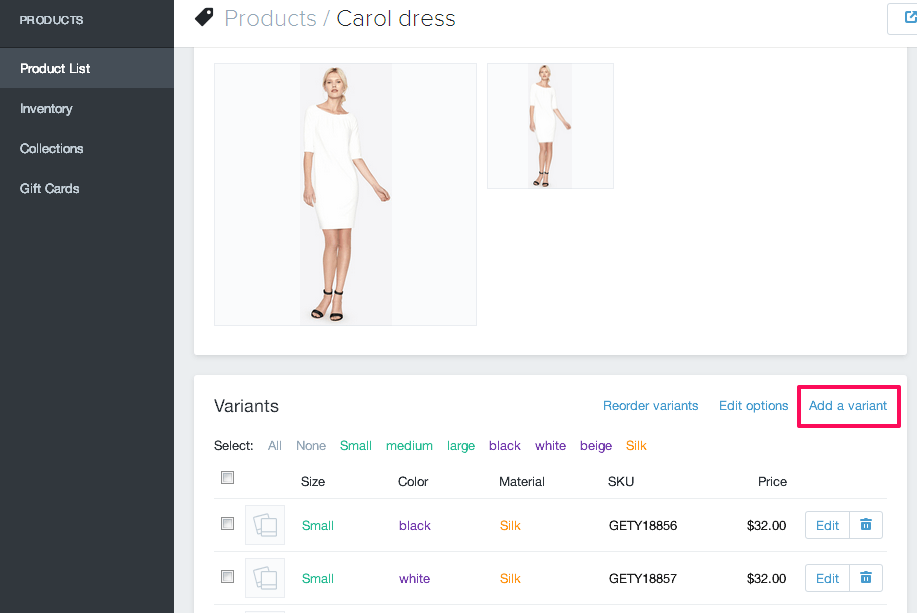 adding product shopify